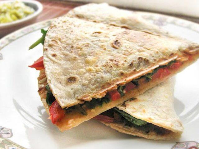 Vegan red pepper spinach quesadillas